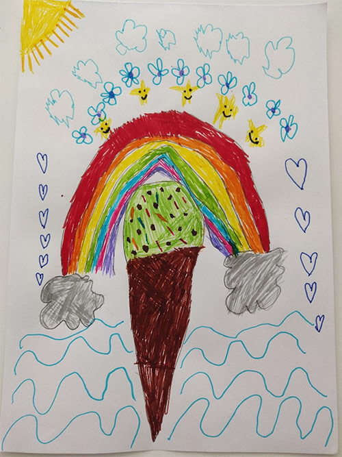 A drawing showing ice cream and rainbow